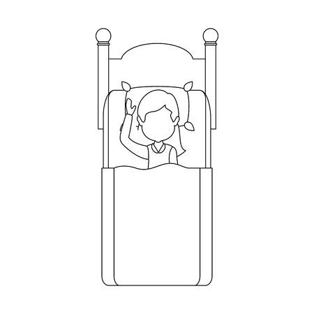 ベッド ベクトル イラスト デザインで寝ている女性