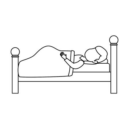 Donna che dorme sul letto illustrazione vettoriale illustrazione Archivio Fotografico - 85030909