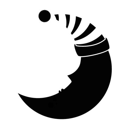 スリーピングキャップ付きの月可愛いキャラクターベクターイラストデザイン