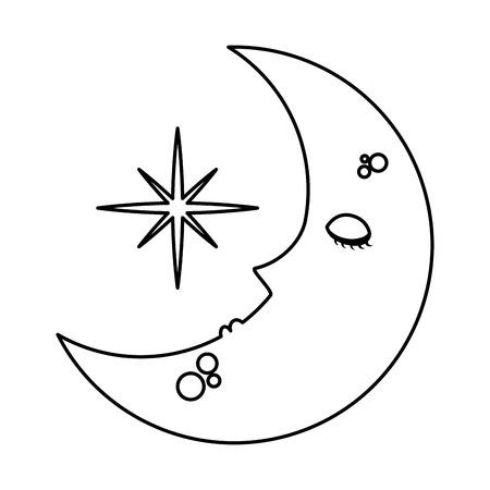 ontwerp van de het karakter het vectorillustratie van de slaapmaan kawaii