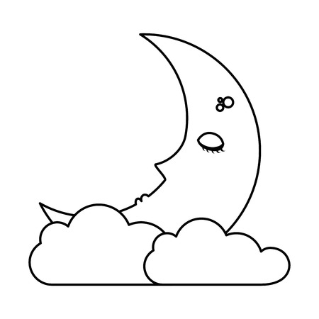 sleeping moon kawaii character vector illustration design Ilustrace