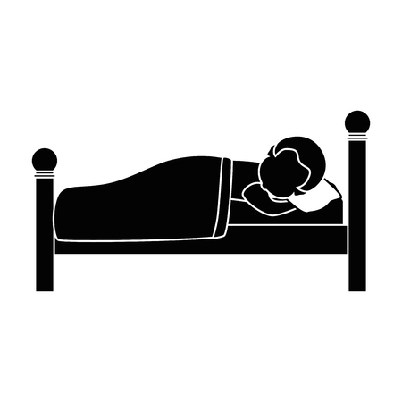 man sleeping on the bed vector illustration design Illustration
