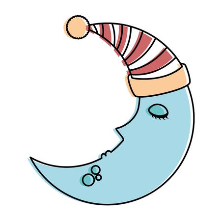 moon with sleeping cap kawaii character vector illustration design Illustration