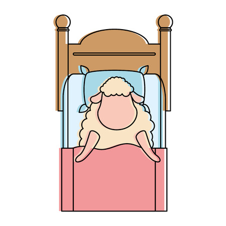 cute sheep sleeping on bed vector illustration design