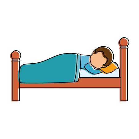 man sleeping on the bed vector illustration design Stock Vector - 85031426