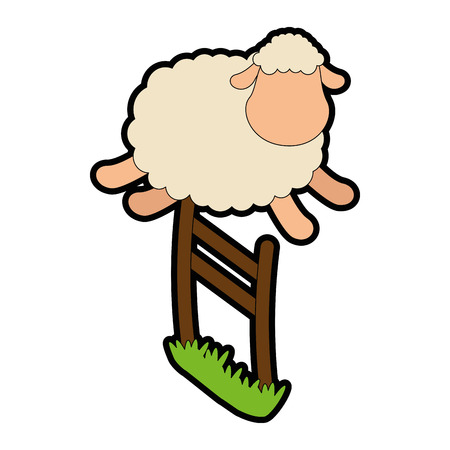 domesticated: cute sheep jumping the fence vector illustration design Illustration