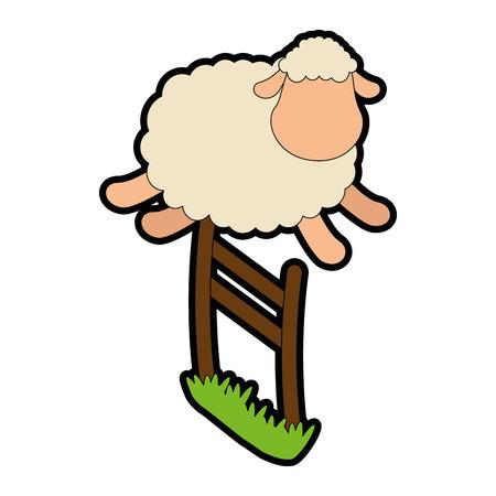 ovejitas: lindo ovejas saltando la valla ilustración vectorial Vectores