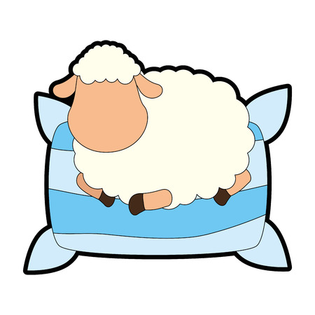 Sheep sleeping on pillow vector illustration design