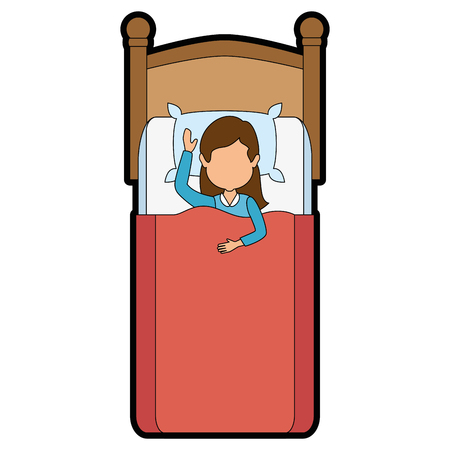 woman sleeping on the bed vector illustration design
