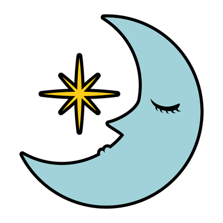 sleeping moon kawaii character vector illustration design 向量圖像