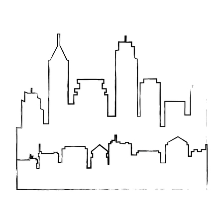 街並みシルエット分離アイコンベクトルイラストデザイン