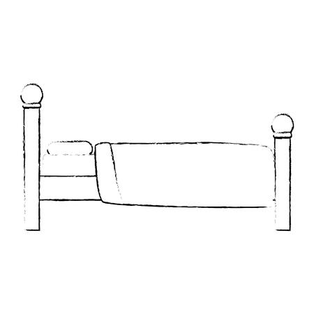 快適なベッド孤立アイコンベクトルイラストデザイン  イラスト・ベクター素材