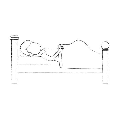 Donna che dorme sul disegno illustrazione vettoriale della base Archivio Fotografico - 85031954