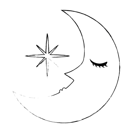 dormir la lune kawaii caractère vector illustration design