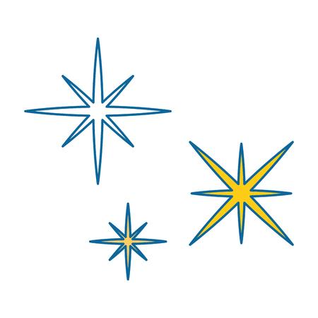 별이 빛나는 하늘 현장 아이콘 벡터 일러스트 디자인 일러스트