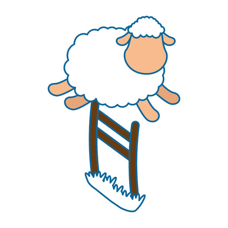 cute sheep jumping the fence vector illustration design Stock Photo