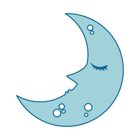 sleeping moon kawaii character vector illustration design Stock Photo