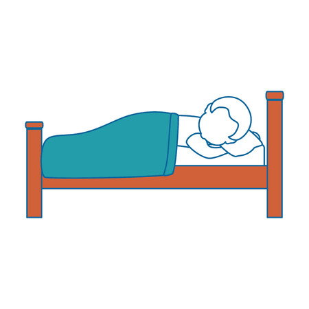 man sleeping on the bed vector illustration design Çizim