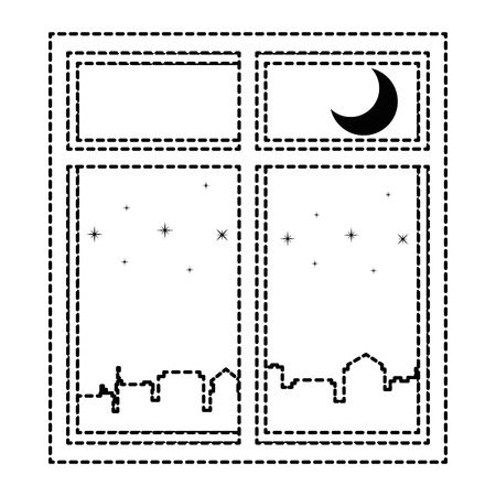 windows with night scene vector illustration design Illustration