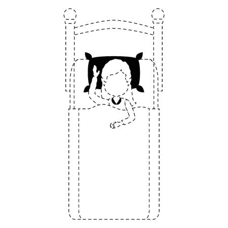 Donna che dorme sul disegno illustrazione vettoriale della base Archivio Fotografico - 85043495
