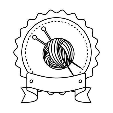 白い背景のベクトル図を糸のボールと針のアイコンが付いたスタンプをシールします。