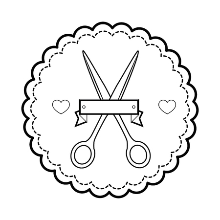 seal stamp with scissors icon over white background vector illustration Ilustrace
