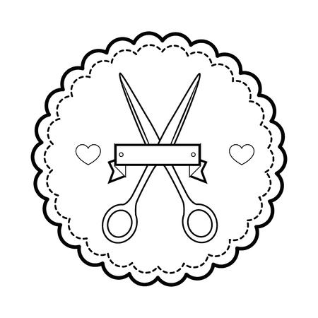 Siegelstempel mit Scherenikone über weißer Hintergrundvektorillustration Standard-Bild - 85066904