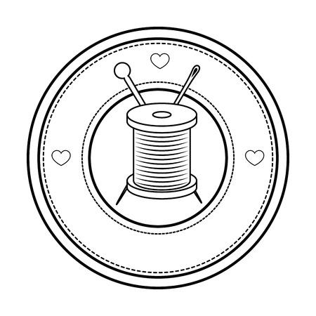 白い背景のベクトル図をスレッドのスプールと針のアイコンが付いたスタンプをシールします。
