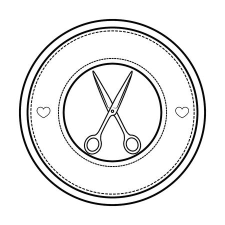 白い背景のベクトル図をはさみアイコンにスタンプをシールします。  イラスト・ベクター素材
