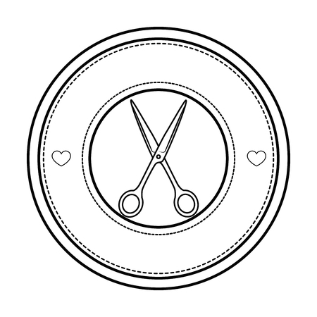 Timbre de sceau avec l'icône de ciseaux sur illustration vectorielle fond blanc Banque d'images - 85066916