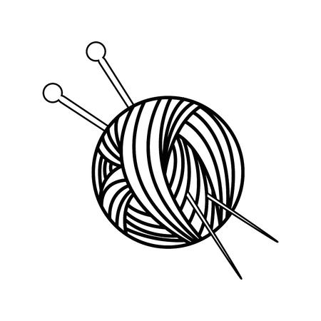 흰색 배경 벡터 일러스트 레이 션 위에 원사 공 및 바늘 아이콘