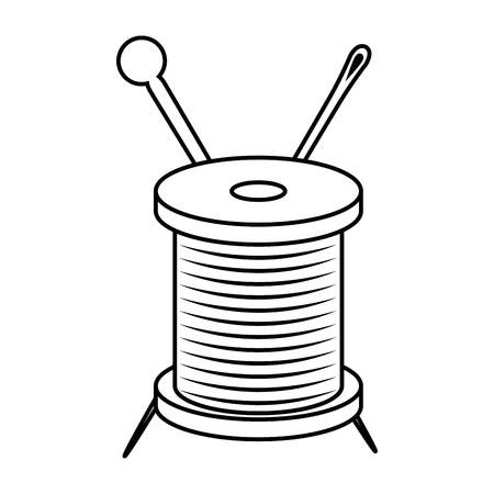 白い背景のベクトル図をスレッドのスプールと針アイコン