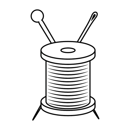 thread spool and needle icon over white background vector illustration Illustration