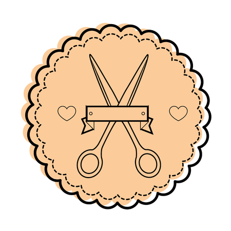 seal stamp with scissors icon over white background vector illustration Ilustração