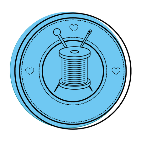 tailored: seal stamp with thread spool and needle icon over white background vector illustration