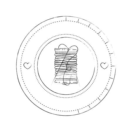 白い背景のベクトル図をスレッドのスプール アイコン スタンプをシールします。