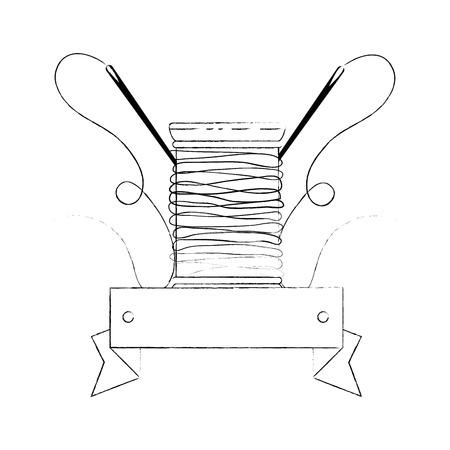 白背景ベクトル イラスト上のスレッド スプール アイコン