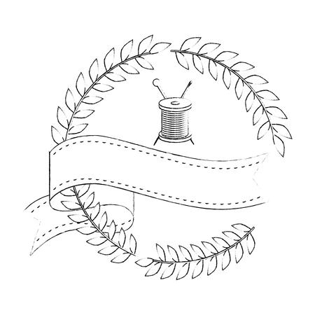 白の背景ベクトルイラストの上にスプールアイコンのスレッドを持つ葉の花輪