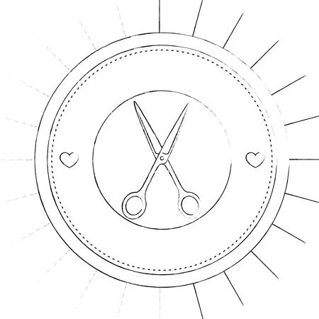 zegel stempel met schaar pictogram over witte achtergrond vectorillustratie