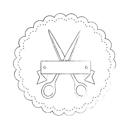 Siegelstempel mit Scherenikone über weißer Hintergrundvektorillustration Standard-Bild - 85068731