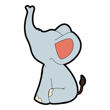 흰색 배경 위에 만화 코끼리 동물 아이콘 화려한 디자인 벡터 일러스트 레이 션