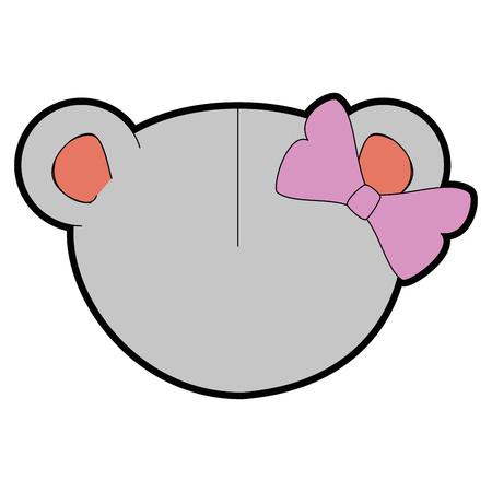 흰색 배경 위에 만화 마우스 동물 아이콘 화려한 디자인 벡터 일러스트 레이 션