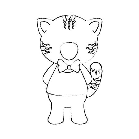 흰색 배경 벡터 일러스트 레이 션 위에 나비 넥타이 아이콘으로 만화 호랑이