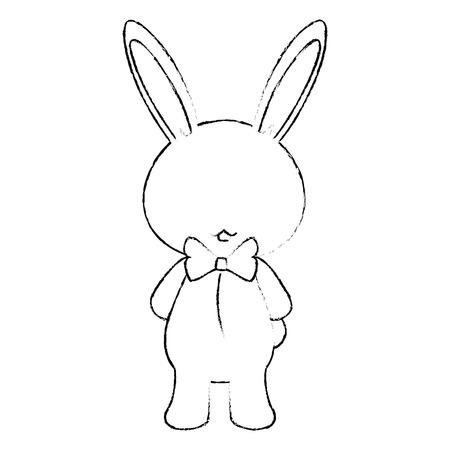 나비 넥타이 아이콘으로 만화 토끼 흰색 배경 벡터 일러스트 레이 션