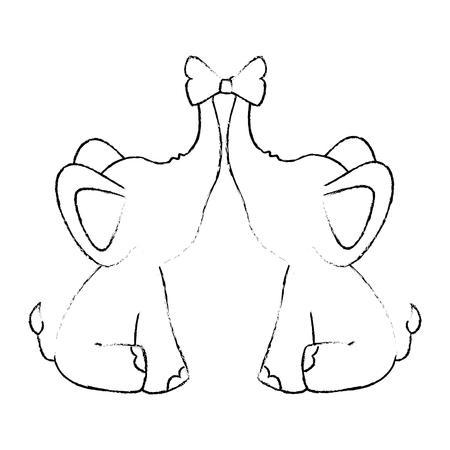couple of elephants with decorative bow tie animal icon over white background vector illustration Ilustração