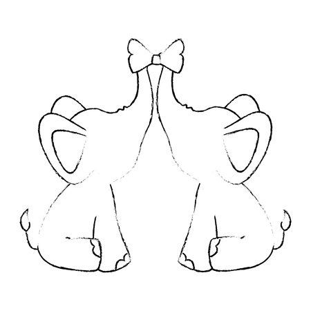 couple of elephants with decorative bow tie animal icon over white background vector illustration Illustration