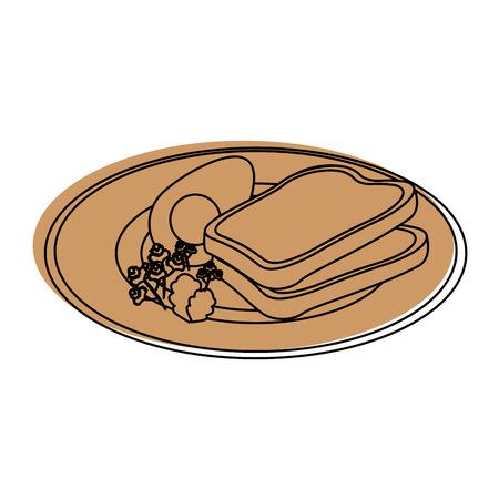 白背景ベクトル イラスト上の朝食食品アイコンとプレート