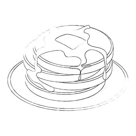 白背景ベクトル イラスト上のパンケーキ アイコンとプレート