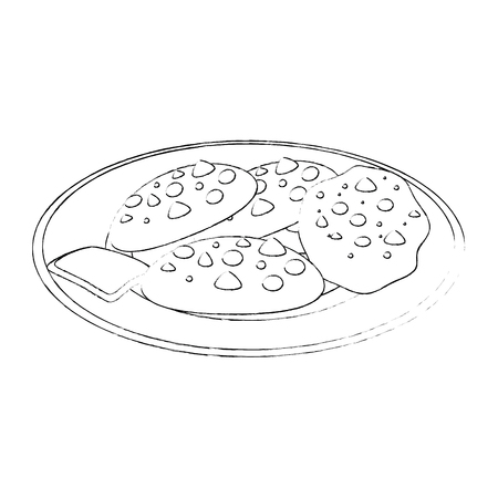 plate with chocolate chips cookie icon over white background vector illustration Ilustrace