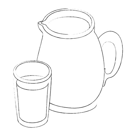 milk pitcher icon over white background vector illustration
